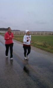 Running in the rain during our first 90in9  challenge.