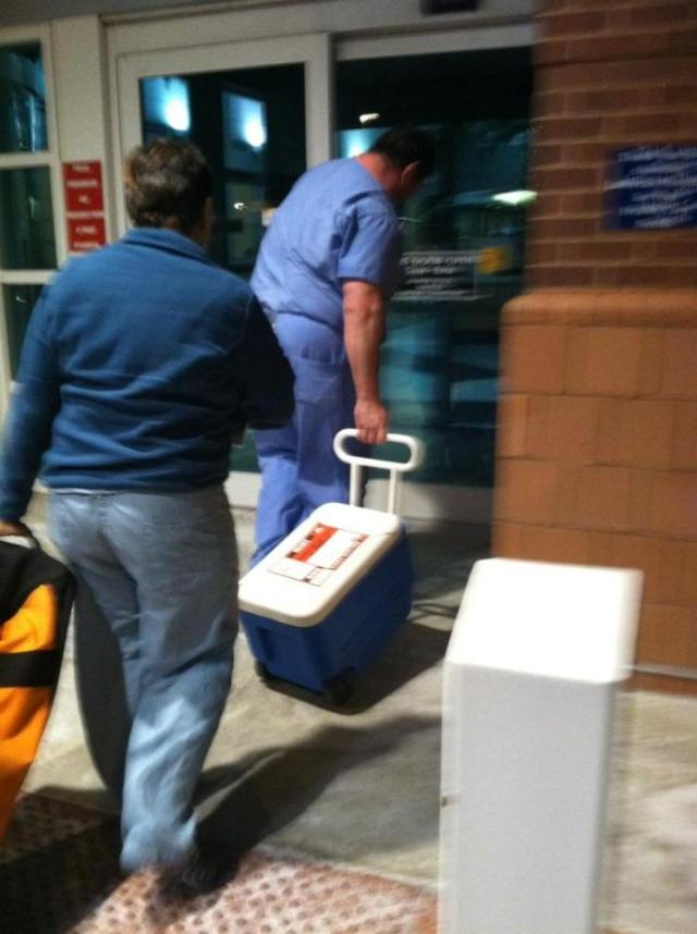 Uncle Dan's heart arrived at the hospital inside that cooler at 2:40 a.m. on Jan. 6, 2012. A bunch of the family was hanging out in the lobby, knowing it was on its way, and when it got there everybody was really happy but also really sad for the family of the person who donated it.  My mom's cousin Heather took this photo.
