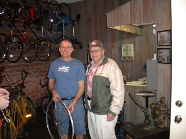 Chain Reaction owner Randy Braun and his dad, from a photo on the store's Facebook page.
