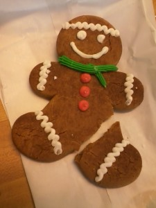 The gingerbread man came out of the run pretty well, with only a broken leg after nearly 7 miles on the road.