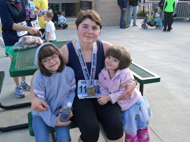 Sammi with her nieces after finishing the Fort4Fitness Half Marathon.