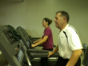 Dad and Traci on the treadmills at the Y.