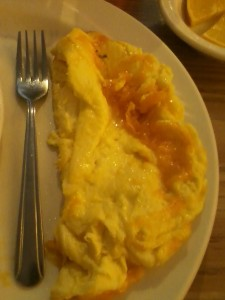 When the restaurant omelet's made with 5 eggs, have an order hardly seems like a sacrifice.