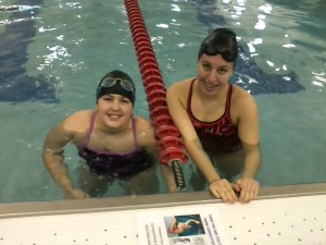 Our two swimmers, Colleen and Madison, in the water and ready to go.