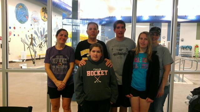 """On the left is our """"B Team,"""" me, Grandpa and Colleen. On the right is the """"A Team,"""" Ben, Madison and Traci."""