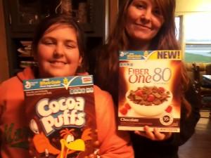 Colleen and Rowan display their taste-test picks.