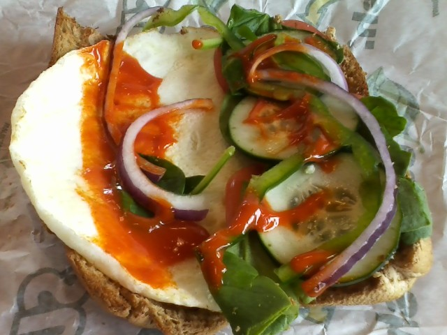 I order my egg white sub without cheese but load up on veggies and hot sauce.