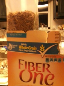Fiber One comes with two smaller sealed packs of cereal inside instead of one. You use just one of these in the recipe.