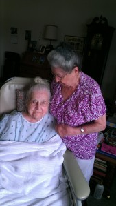 Grandma Annie-Bananie with her baby sister, Great Aunt Josephine (aka Jokie), in the summer of 2013.