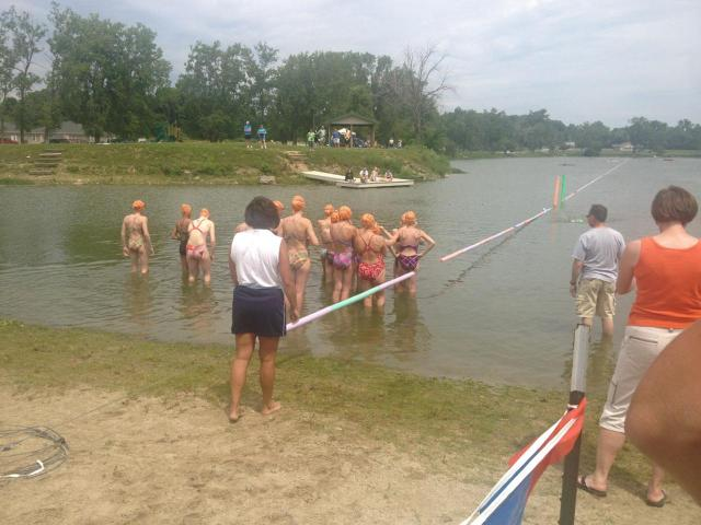 Swimmers had to go the length of the lake twice for a mile.