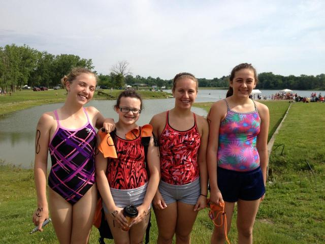 Otter teammates from left:  Libby, Megan, Madison and Caitlin