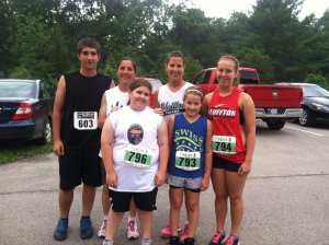 Our runners at the Waterfall Trail Run: Ben, me, Colleen, Traci, Monroe and Madison.