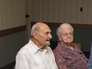 Annie-Bananie at her 100th birthday party with brother Sylvan, who's now 99.