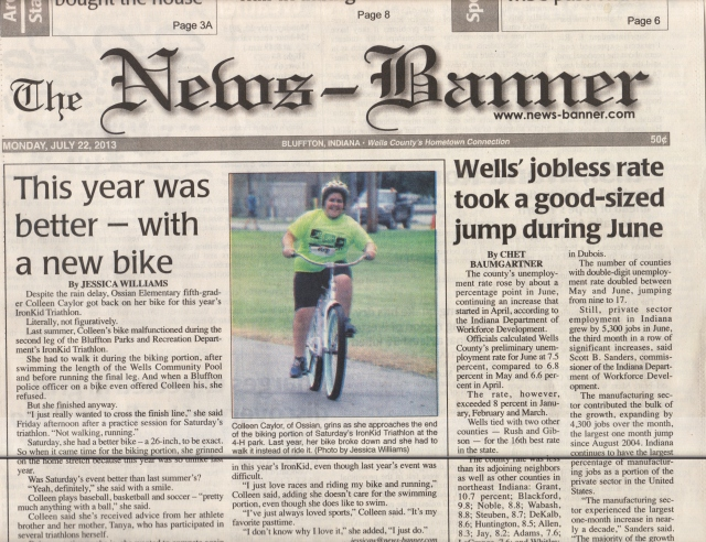 Making headlines as a determined kid triathlete.