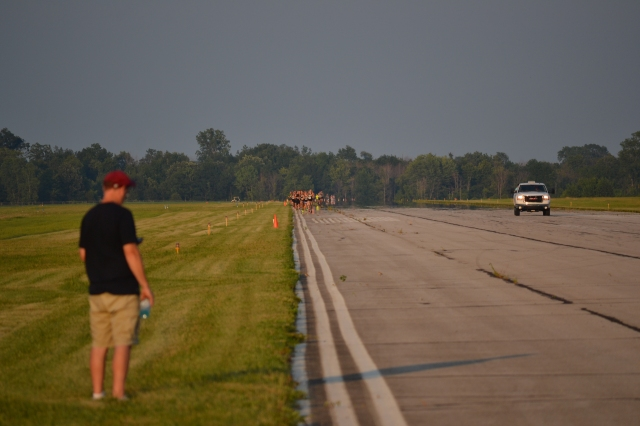 The view from the end of the runway near the start of the race.