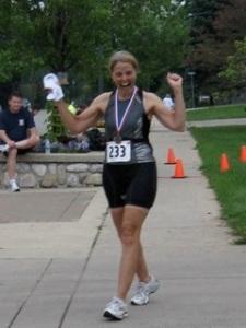 Mrs. Smith finishing her first triathlon.