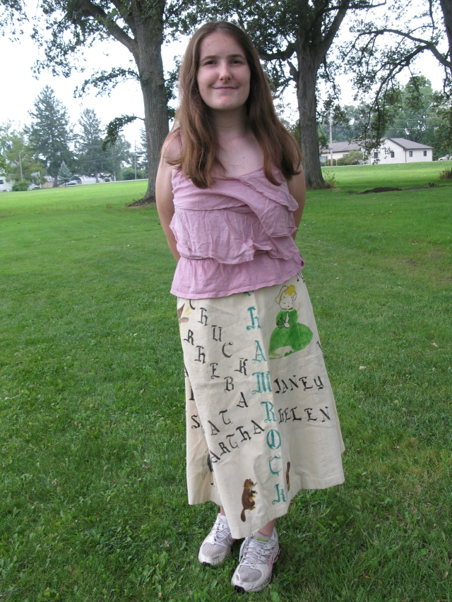 Cassie models Grandma Jane's recently unearthed poodle skirt, from Somerset High Class of 1952.