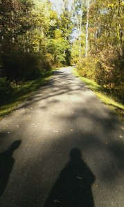 I was too late to snap a cell phone pic of the deer -- all I got instead was our shadows!