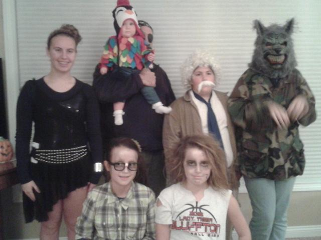 Me and my cousins trick-or-treating last night. In front are my cousin Monroe on the right and her friend Celia. Back row, from left, my cousin Madison, my baby cousin Kyla and Uncle Brent (he was a pirate and she was a parrot), me as Einstein and my sister Cassie as a werewolf.
