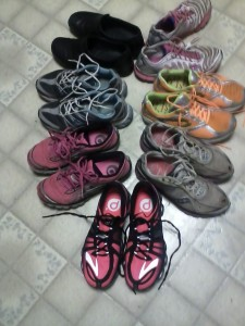 "Our ""shoe bank"" included two pair less than 2 weeks old, a pair with 1,000 running miles, a 10-year-old pair of Nikes and a pair of non-athletic shoes Traci wears at the hospital. At one point, we even traded shoes, since we both wear the same size."