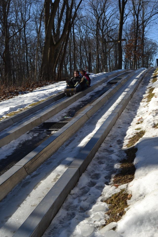Ben, Colleen, Cassie and I take our first plunge on the toboggan.