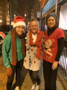From left, Megan Russell, Cynthia Cornwell and Carol Dobis at last week's Ugly Sweater Run.