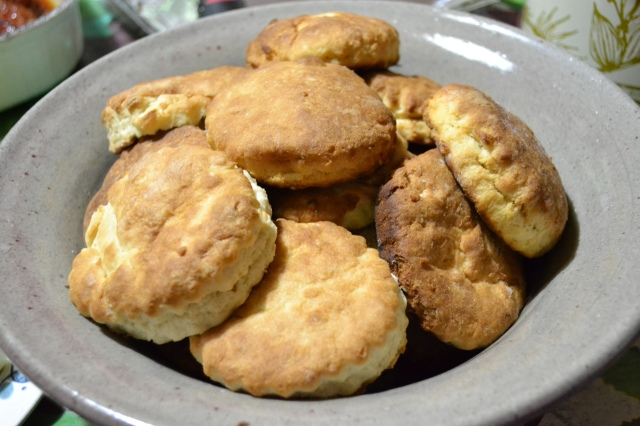 Colleen chose biscuits for the letter B. Once again, somehow Ben wound up making them. He said these would be the best we ever tasted. Unfortunately, he mixed up the ratio in concocting a homemade baking powder and they ended up being among the worst we ever sampled. No matter. We had enough food for a small village, so no one went hungry.