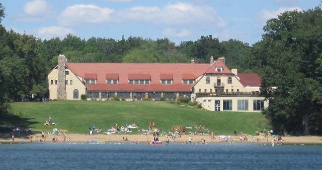 The Potawatomi Inn at Pokagon State Park (as it appears in warmer months).