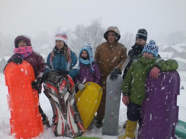 Yes, my sister and I took our kids sledding in a blizzard. From left: Cassie, Madison, Monroe, Ben, Mason and Colleen.