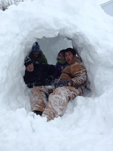 The snow fort we made at Grandma and Grandpa's house this week.