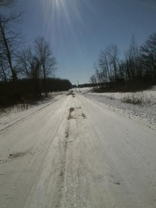 This road would've been pretty slippery without the Yaktrax....