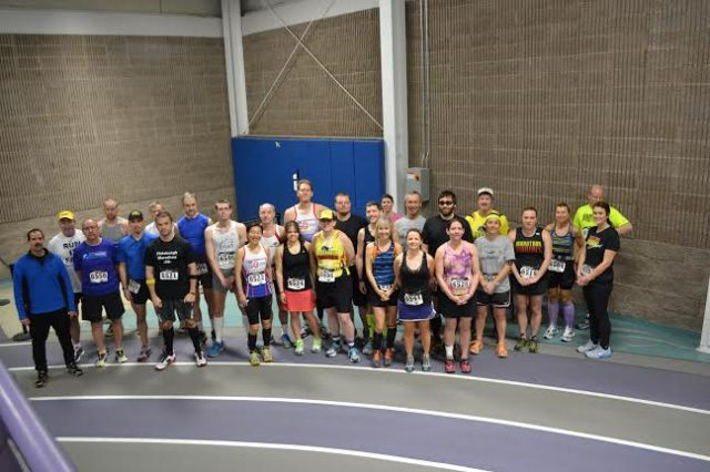 The field at the Maple Leaf Indoor Marathon back in February, just before the start.