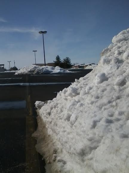 Despite the fact that the kids had yet another snow day, the sun came out in the afternoon and I found the parking lot at Bluffton Middle School had pretty much melted -- except for all the giant icebergs where the plowed snow has gotten stacked up over the past few weeks.