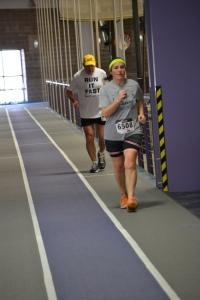 Here's Denis running me down in the second half of last Sunday's marathon despite working regular walk breaks into his running.