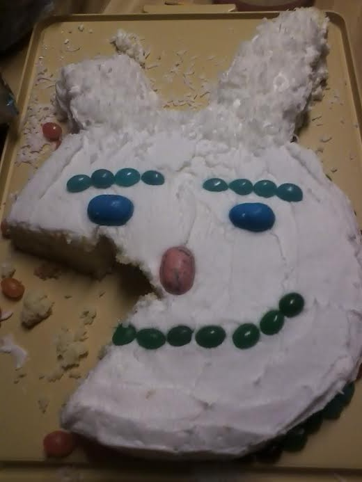 Is it just me, or do those jellybean eyebrows make this Easter Bunny look kind of mean?