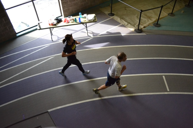 April Birts, left, competes  in the Maple Leaf Indoor Marathon at Goshen College in February.