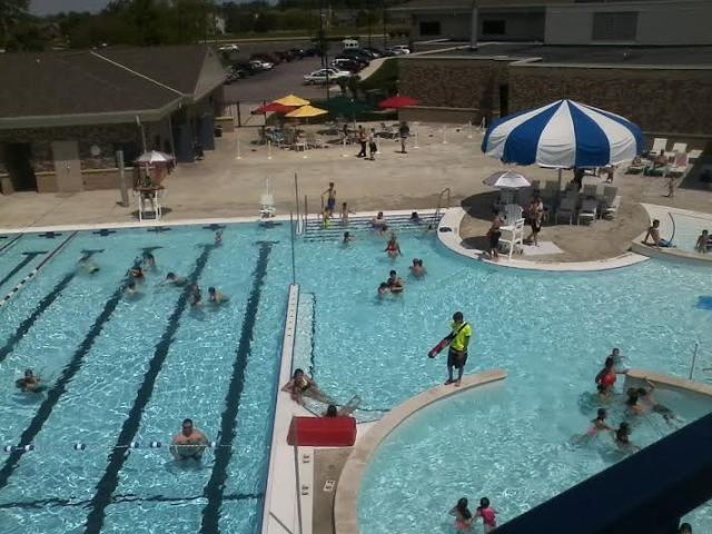 The view from the slide at the Jorgensen YMCA's new pool in southwest Fort Wayne.