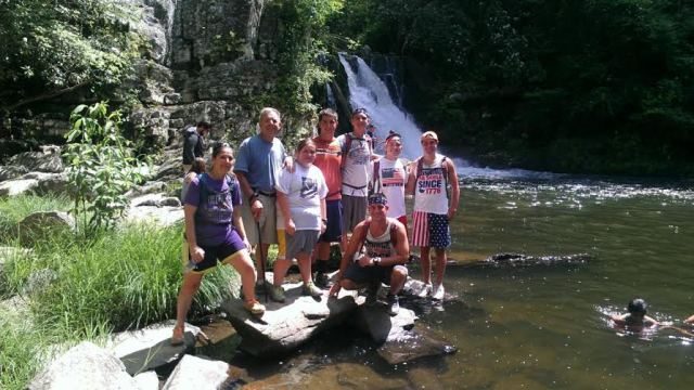 Me, Grandpa, Colleen, Ben, Max, Riley, Brian and, (neeling) Garrett at Abrams Falls.