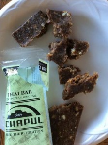 The Thai bar contains dates, almond butter, cashews, cricket flour, honey, coconut flakes, ginger, salt, sunflower oil and lime.