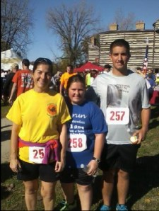 Mom and Ben and I after the race outside the Old Fort.