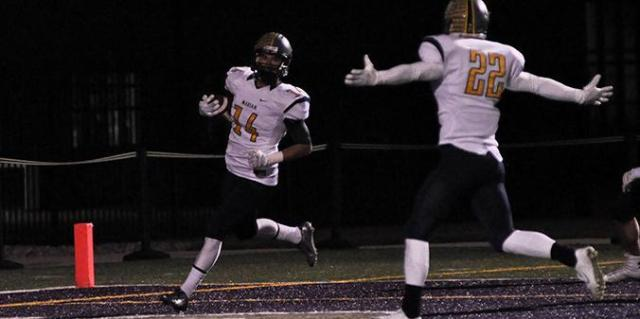 Garrett reaches the end zone untouched after a 73-yard touchdown in Marian University's 55-14 win over Taylor on Saturday. Where did he get that speed, anyway?