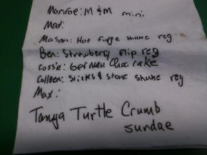Our ice cream orders at Ivanhoe's, a popular dining spot in Upland, Ind., home of Taylor University.