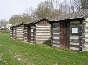 A reconstruction of the sheds where an 1826 treaty camp was set up to negotiate more land from the Potawatomi and Miami tribes.