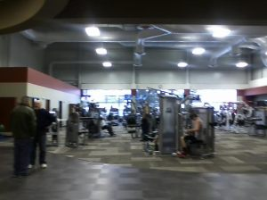 The main workout room. Sorry for the blurry pic; I had my crappy cell phone camera. But if you really want to see what it looks like, go check it out for yourself!