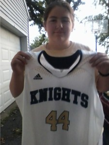 Isn't this a cool Norwell basketball jersey? Sorry if I look groggy -- my brother and I were up at 6 a.m. to go to the Y.