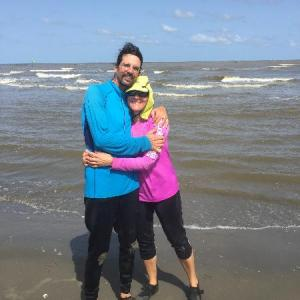 John and LaNae Abnet at the Gulf of Mexico at the conclusion of their 98-day journey.