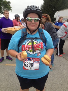 """At the """"donut stop,"""" I mean aid station. I definitely felt better going in than coming out."""