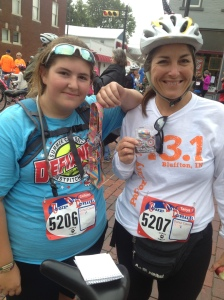 Colleen and I with our medals after the race. (She will share her perspective in her usual Friday post.)
