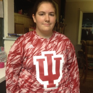 The first thing I did this morning was put on my new IU shirt to wear to school.